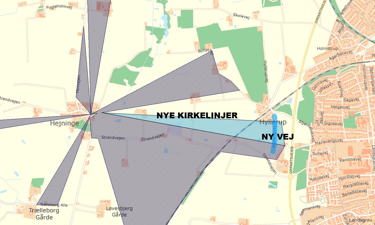 Ny vejføring af Hyllerupvej og med nyt forslag til kirkelinjer.