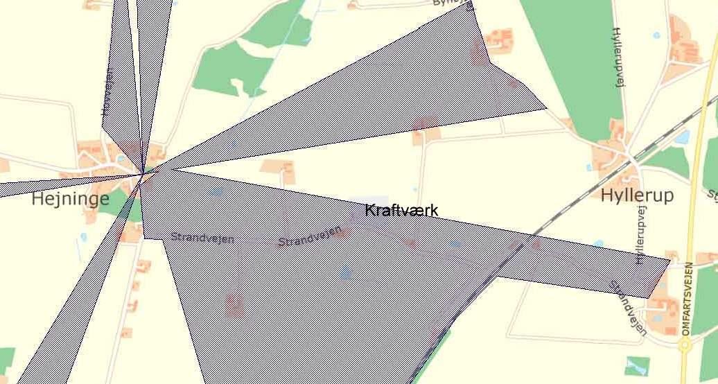 Grå skravering = Udpegede kirkeomgivelser (Kommuneplan 2009-2020 - 10.2 Kirkeomgivelser)