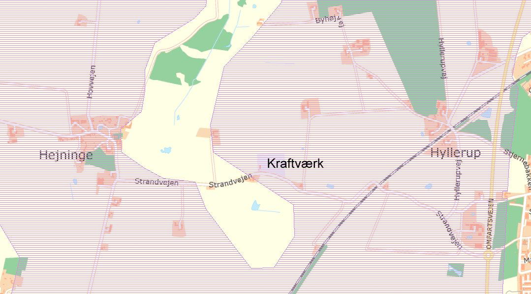 Rød skravering = Værdifulde landskabsområder. Det ikke skraverede område er udlagt som beskyttelsesområder (Kommuneplan 2009-2020 - 9.2 Landskabsområder og 9.3 Beskyttelsesområder)