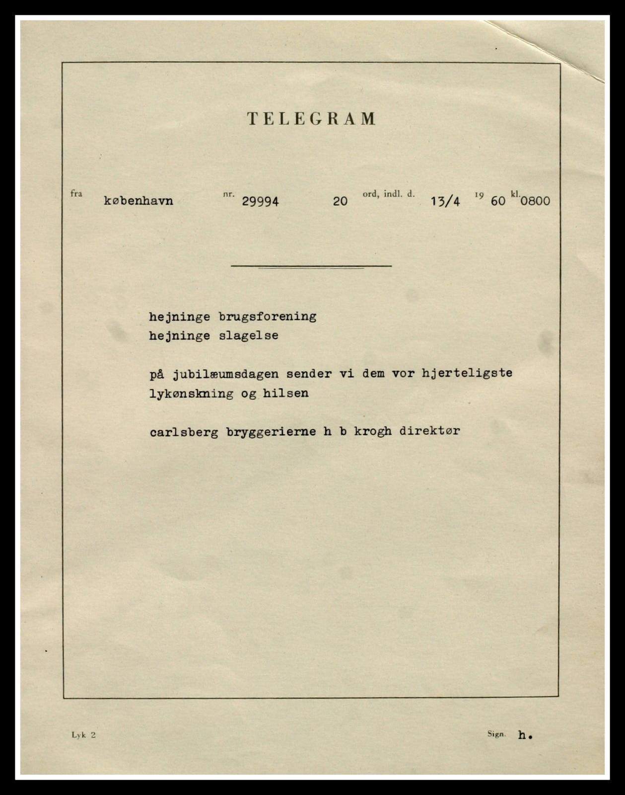 Lykønskningstelegram fra Carlsberg